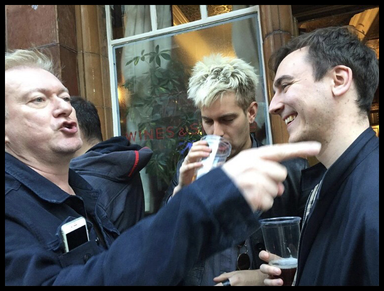 Photo of me with Andy Gill outside a pub in Soho