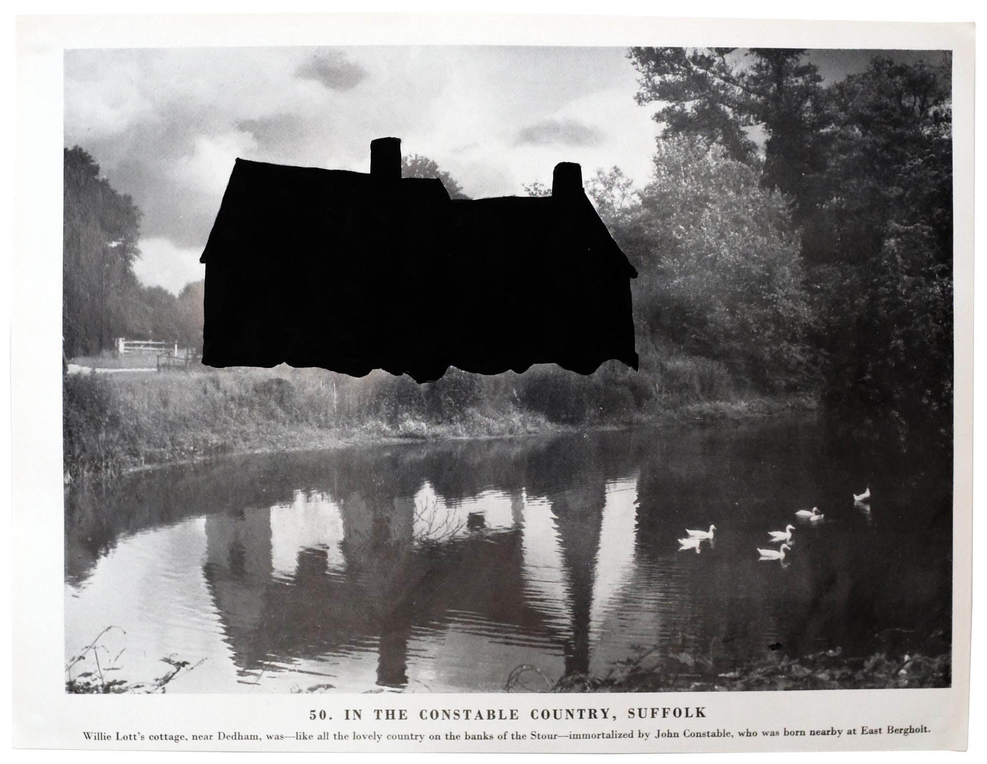A print of 'Flatford Mill' by John Constable, with the house painted over with black paint