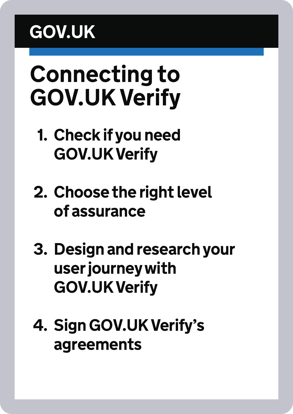 Illustration of a page on the GOV.UK Verify website describing how to get started with the service